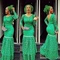 Verde Vestido de Noite Apliques de Renda Sereia Elegantes Vestidos de Noite Longos Vestido De Festa Robe De Soirée Vestido de Noite Nigeriano
