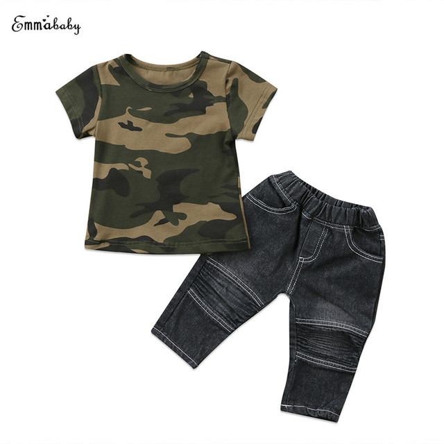 73baad4db Fashion Newborn Toddler Kids Baby Boy Summer Outfit Short Sleeve Camouflage  T-shirt Tops Black Jean Denim Pant 2PCS Children Set