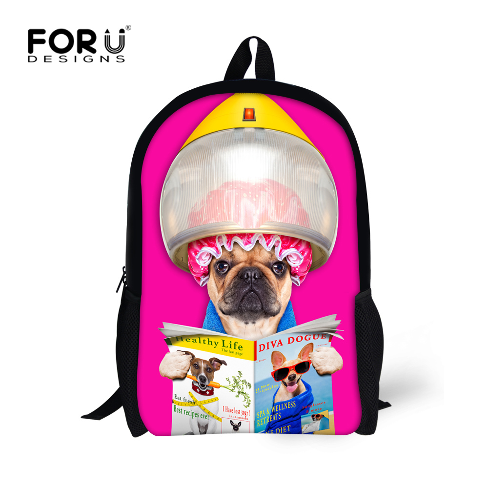 16 inch Children Backpacks Designer Animal Dog Printing Backpack for Teenager Girls Casual Kids School Bookbags Mochila infantil