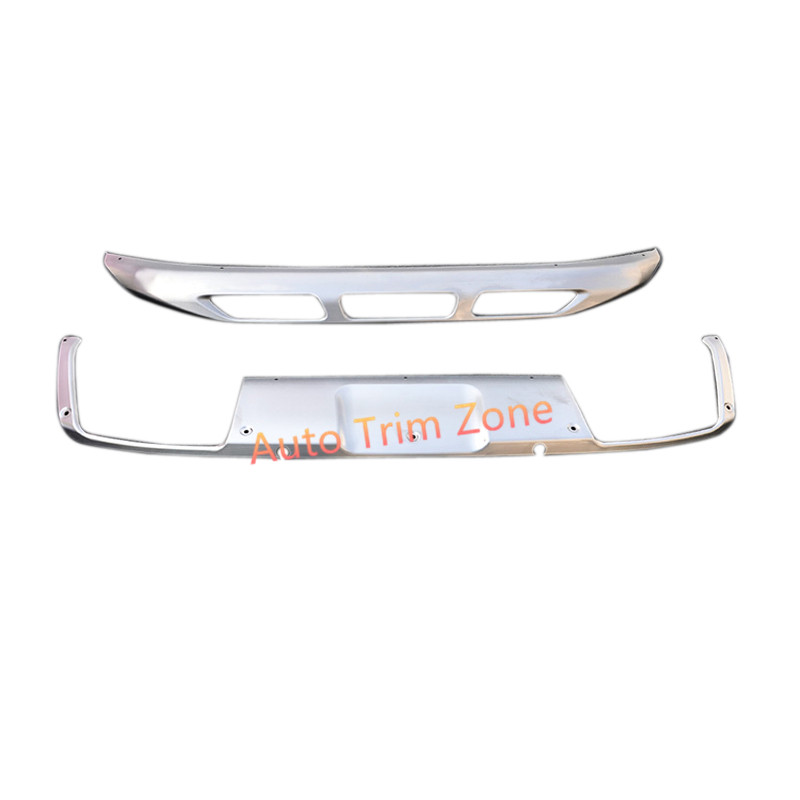 Accessories 2PCS Stainless Steel Outer Front & Rear Bumper Guard Fender Shield For Peugeot 3008 GT 2017 26pcs stainless steel outer front bumper