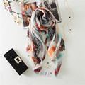 2016 Spring And Summer New Korean Fashion Women Scarves Color Feather Print Cotton Burrs Sunscreen Warm Shawl Dual Female