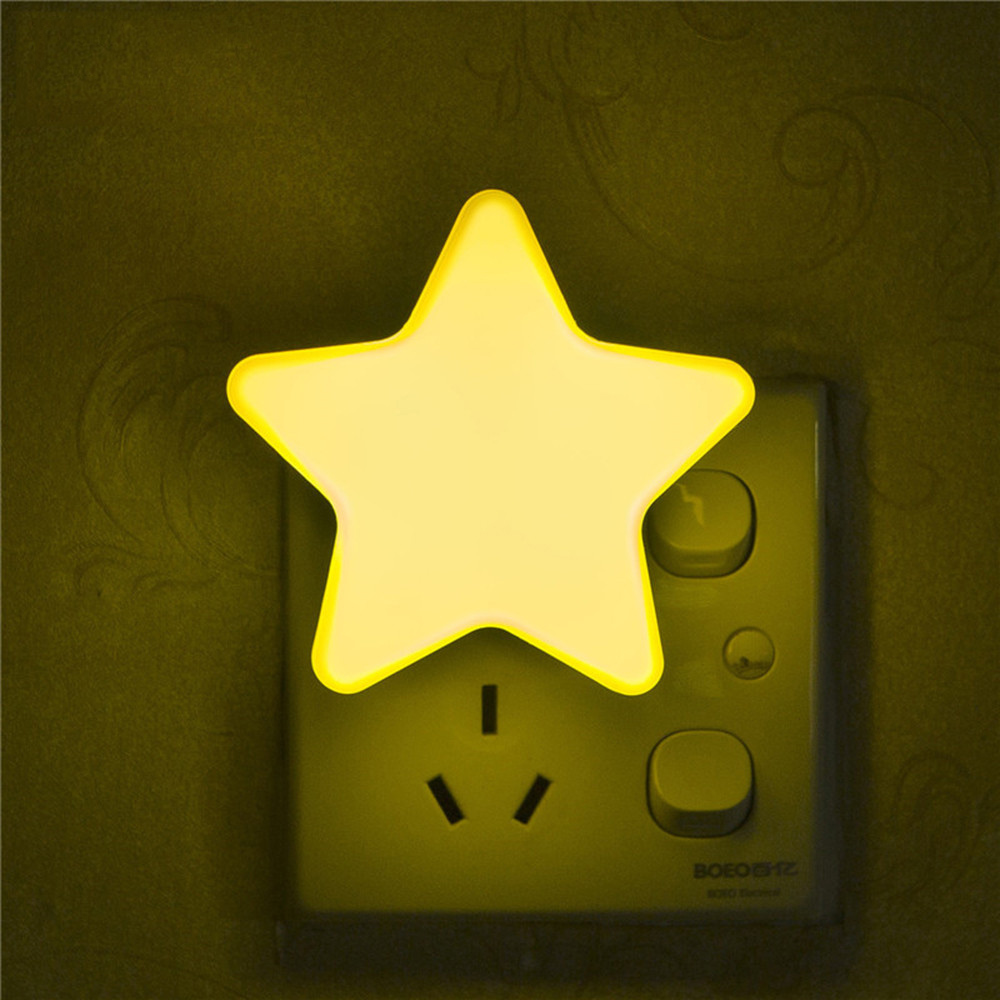 Light Sensor Control Mini Star LED Night Light for Dark Night Children Bedroom Bedside Lamp with EU/US Plug Baby Sleeping Light itimo led night light baby sleeping kids bedside light bedroom decoration cartoon star night lamps novelty nightlight