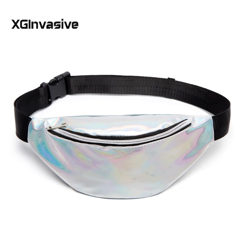 Free Shipping Laser Waist Packs Bags Women Pure Color Fanny Pack Female Belt Bag Black PVC Waist Packs Laser Chest Phone Pouch