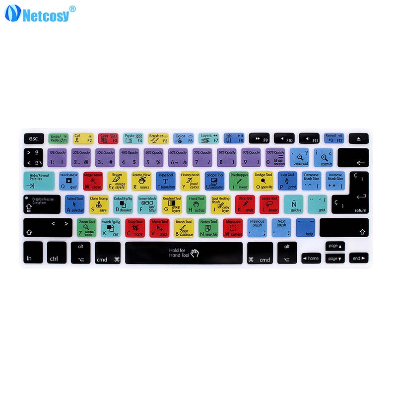 Netcosy Spanish Shortcut Keyboard Covers For Macbook Pro A1278 Air 13 Ableton Final Cut Pro X  Photoshop Rubber Shortcut Cover