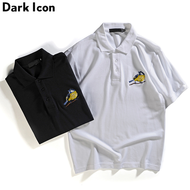 Dark Icon Bird Embroidery Polo Shirts Men 2018 Summer Turn Down