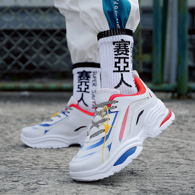37da1b83b25 2019 Fashion Men s Running Shoes Increasing Casual Male Chunky Sneakers  Height Platform Disruptor Bape Sports Triple S