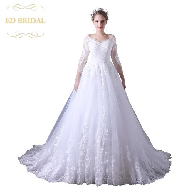 A Line Tulle Wedding Dress Lace Liques Three Quarter Sleeves See Through Backless Bridal Gown