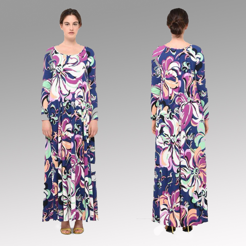 New Bohemia sun printed long sleeves fashionable women s elastic knitted silk dress