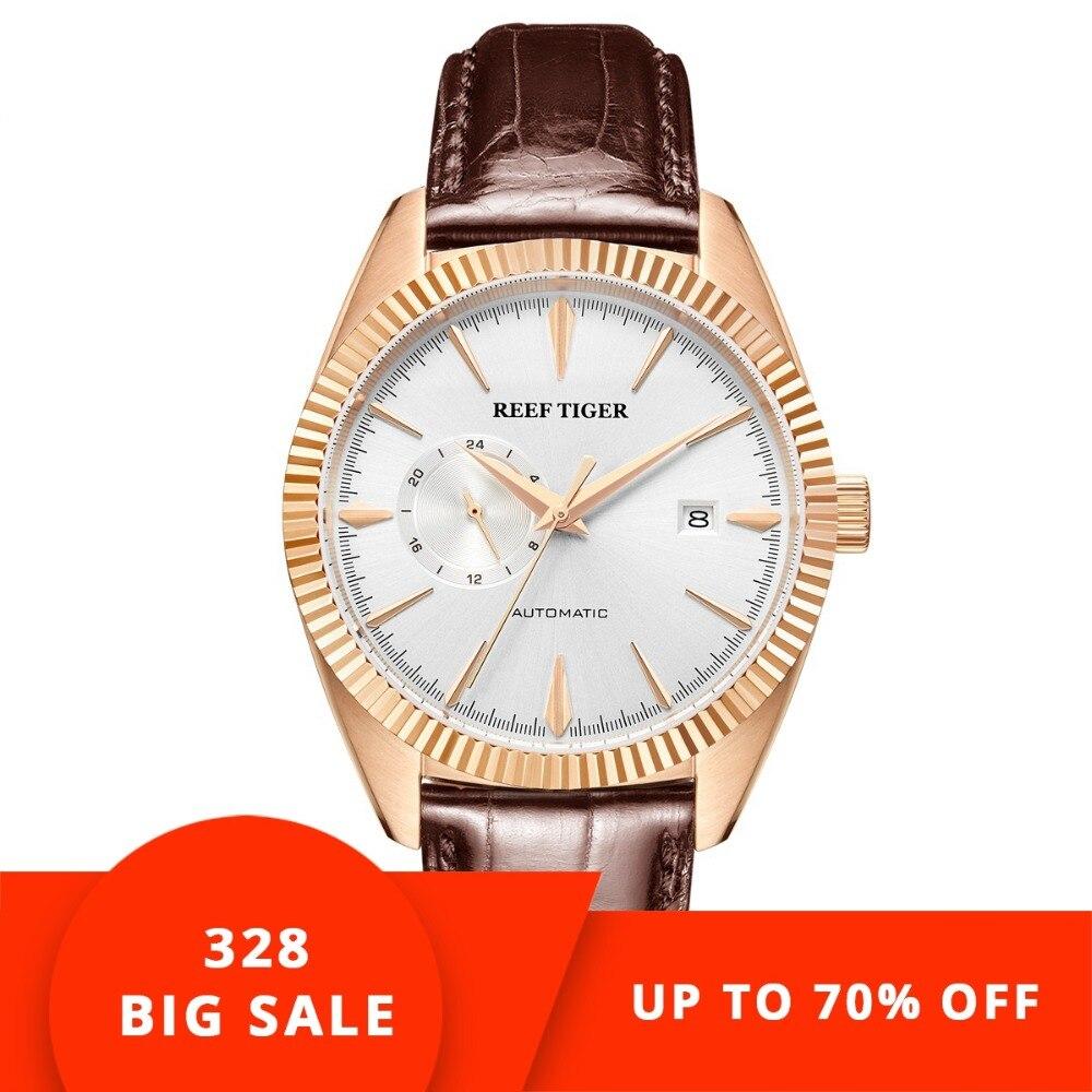 Риф Тигр/RT лучший бренд класса люкс автоматические мужские часы платье часы пояса из натуральной кожи ремень водостойкий Relogio Masculino RGA1616