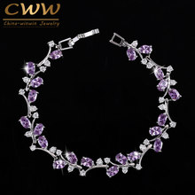 CWWZircons 6 Colors Options White Gold Color Handmade Austrian Crystal Rhinestone Purple Stones Bracelets Bangle for Women CB078(China)