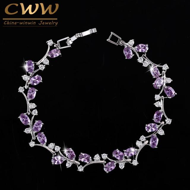 018dd6aa62e43 CWWZircons 6 Colors Options White Gold Color Handmade Austrian Crystal  Rhinestone Purple Stones Bracelets Bangle For Women CB078-in Wrap Bracelets  ...