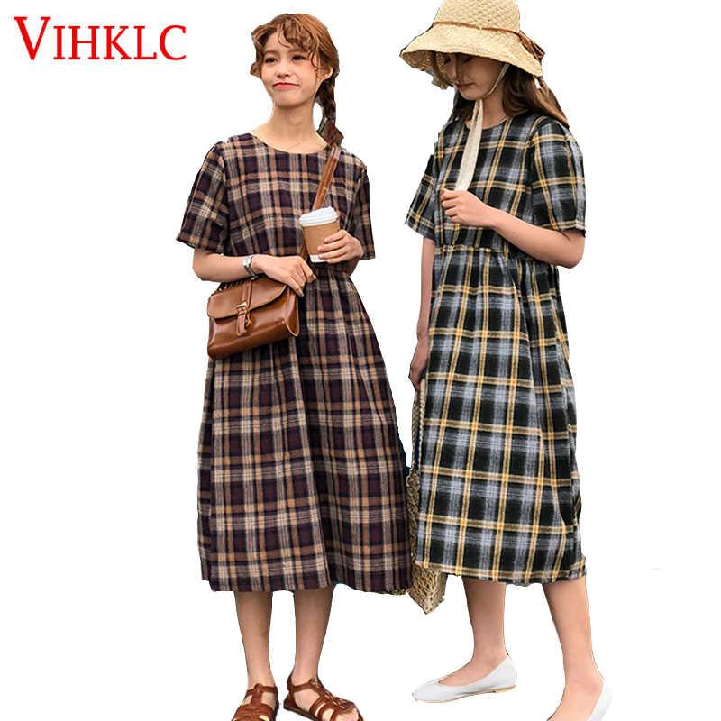 Vihklc 2 цвета в винтажном стиле; сезон лето платье 2018 в Корейском стиле в винтажном стиле; платье в клетку с коротким рукавом милое Длинное Платье женское T580
