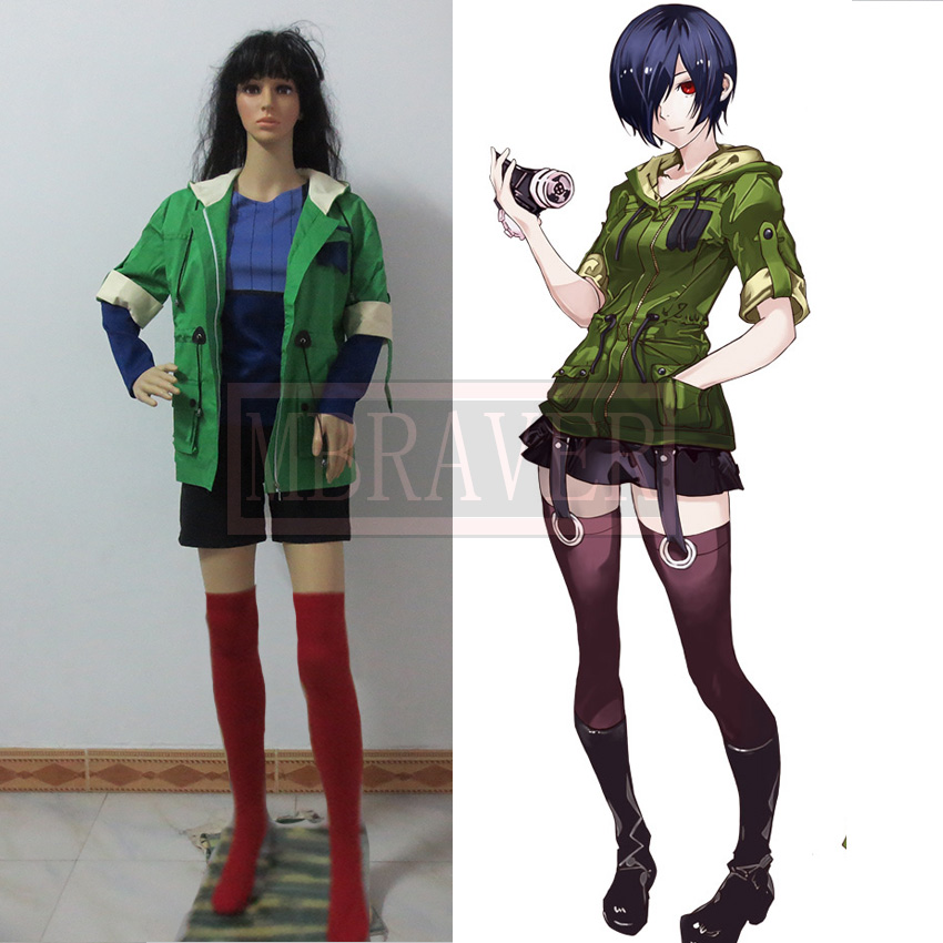 Tokyo Ghoul Touka Kirishima Cosplay Costume Green Hoodie jacket+T-shirt+shorts+socks Any size