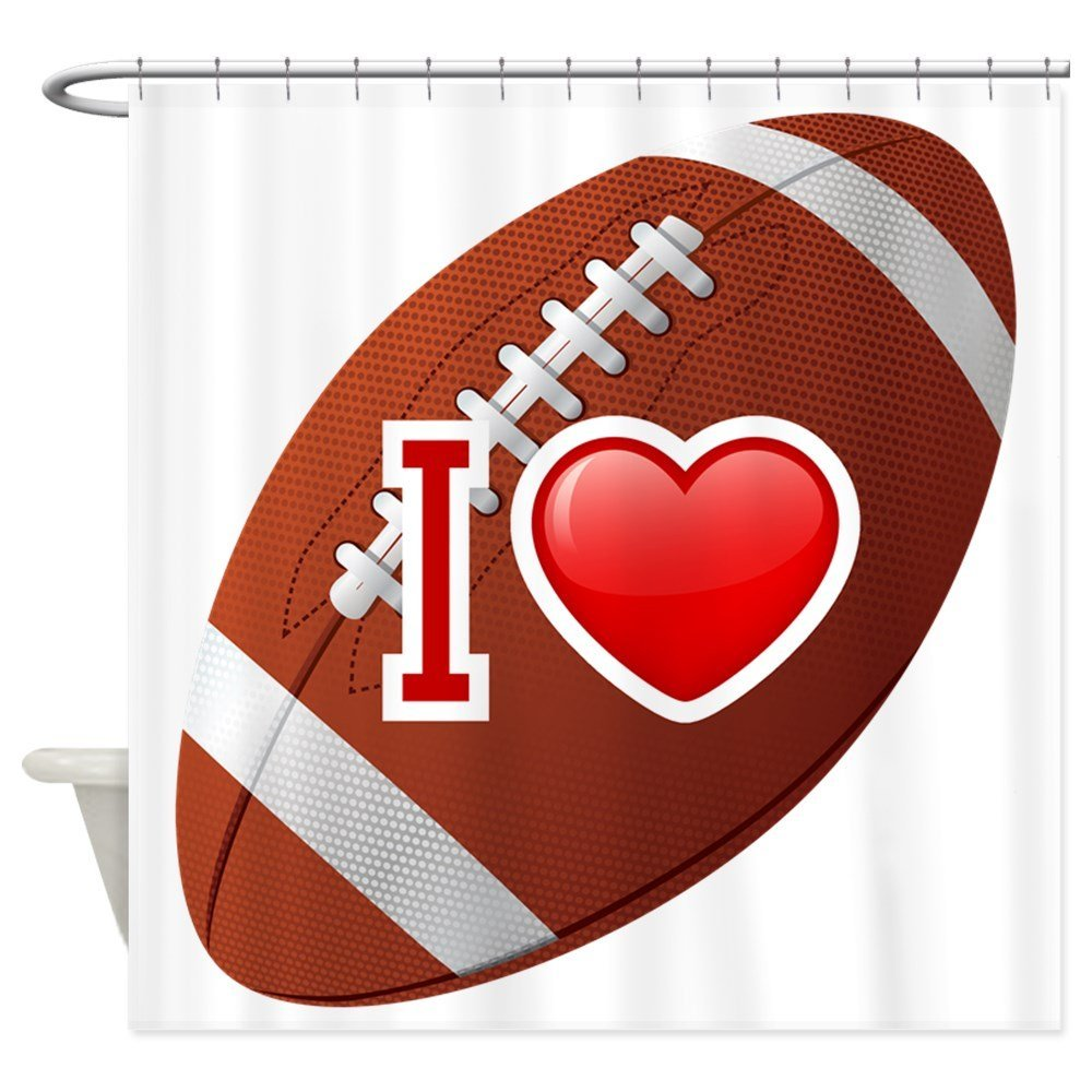 Sports shower curtains - I Love Football Sports Decor Collection American Football Themed Fun Traditional Sport Close Up Photo Pattern Shower Curtain