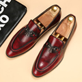 High Quality 2017 New Men Business Black Dress Casual Wedding Flats Oxford Pointed Toe Patent Leather Low Heel Red Leather Shoes