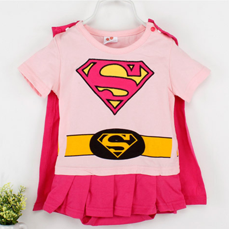 Baby Girls Cosplay Superman Costumes Romper Halloween Superhero Jumpsuit For Toddler Infant Kids Girl Outfit Birthday Party Gift