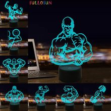 Fitness Model 3D Night Lamp Coloful LED Lighting for Gym Decoration Gift