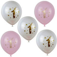 5/10pcs It's a boy/girl Latex Balloons with Gold Glitter Shiny Written 1 For Baby Shower Balloon Decor Birthday Party Supplies 8(China)
