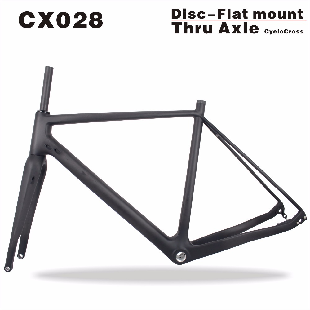 Miracle bikes Full Carbon Cyclocross Frame Size 49/52/54/56/58cm Thru Axle Bike Frame 700*40C bicicleta Carbon frame CX028  seraph 2018 carbon fiber cyclocross bike carbon cyclocross frame 142 12mm rear thru axle fm286 carbon frame 56 color paint