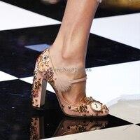 Розовый обувь из кожи и меха с цветами и стразами свадебная обувь кристалл коренастый женские туфли на высоком каблуке Бисер металлические