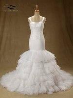 Spaghetti Straps Elegant Lace Mermaid Wedding Dress With Chapel Train Long Wedding Gown Bridal Gown Vestido