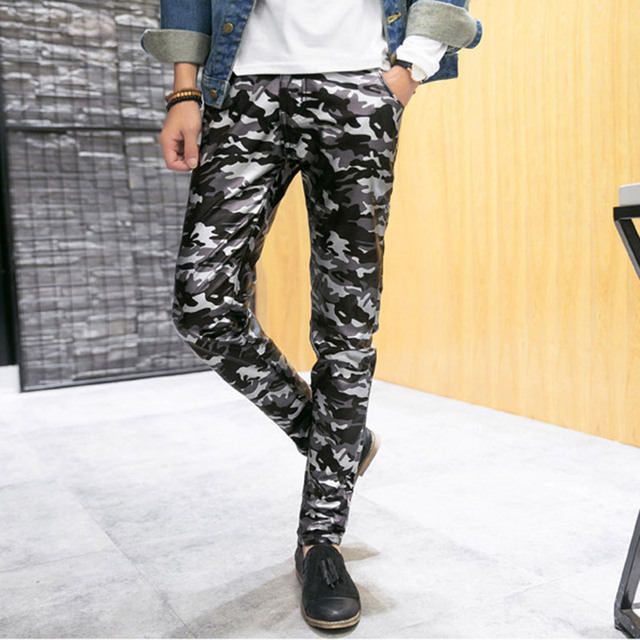 2016 New Men`s Camo Faux Leather Pants PU Camouflage Autumn Slim Fit Skinny Pencil Leather Trousers