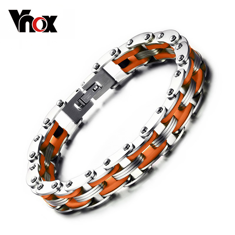Vnox Masculine Mens Bike Chain Bracelet Stainless Steel Motorcycle Link Chain Bicycle Chain Silicone Bangles 23mm width 153 7g skull motorcycle bike chain men boy s stainless steel bracelet men jewelry bangles