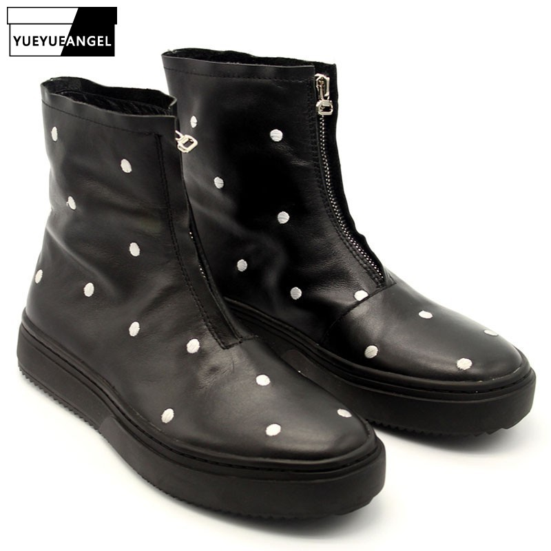 Casual Round Toe Polka Dot Men Boots Winter Zipper Black Cow Leather Platform Boots High Quality Concise High Top Hip Hop BotasCasual Round Toe Polka Dot Men Boots Winter Zipper Black Cow Leather Platform Boots High Quality Concise High Top Hip Hop Botas