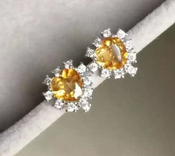 natural citrine earrings 925 silver Natural yellow crystal gemstone earring women romantic fine heart earrings for party