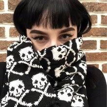 Итальянский стильный Зимний вязаный шарф унисекс с черепом для женщин и мужчин, акриловый шарф со скелетом, черный шарф с бахромой LL171011