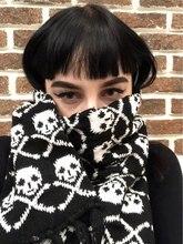 Wholesale Italy stylish skull winter knitted unisex women men scarf skeleton acrylic scarf wraps with fringe black  LL171011 цена в Москве и Питере