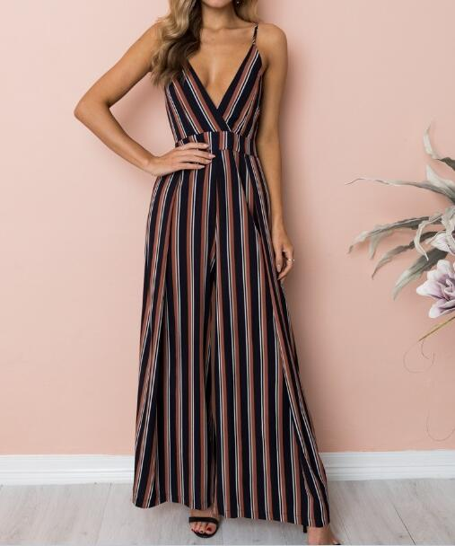 2019 Summer Fashion New digital stripe floral printing sling strapless trousers jumpsuit wide leg Loose