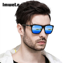 Imwete Polarized Sunglasses Men Sun Glasses Fashion Square Black Frame Driving Travel UV400 Polaroid Eyeglasses