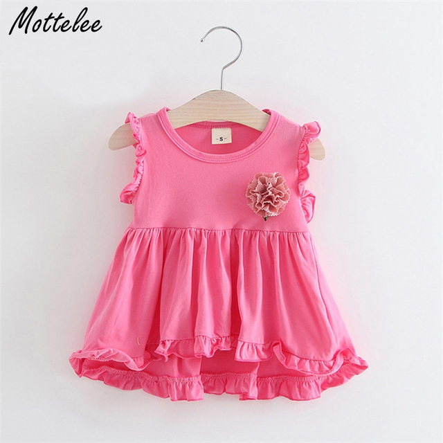 881523a46d562 US $7.99 |Mottelee Baby Girls Dress Cotton Infant Clothes Dress Basic  Toddler Frock Solid Color Newborn Dresses Flower Sleeveless Clothing-in  Dresses ...