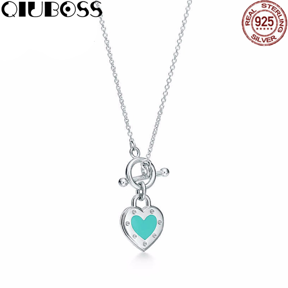 QIUBOSS TIFF 925 Sterling Silver Genuine Original Heart-shaped Green Pendant Necklace Charm Gift qiuboss 925 sterling silver silver heart shaped enamel pendant necklace charm women clavicle diy gift jewelry