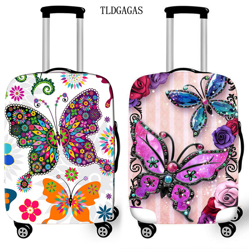 Butterfly Print Trolley Suitcase Protective Cover 18-32 Inch Elastic Luggage Cover Carry On Baggage Case Bags Travel Accessories
