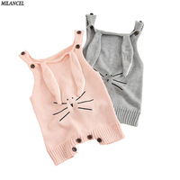 Milancel 2017 Newborn Baby Clothes Cute Bunny Bodysuits Knitted Boys Bodysuit Autumn Boys Girls Clothing Rabbit