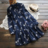 Mferlier Winter Women Dresses Floral Print Long Sleeve Casual Loose Dresses Turn Down Collar Dress A