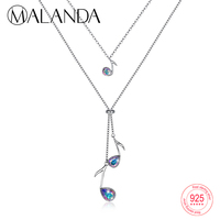 MALANDA Crystal From Swarovski Music Notation Pendant Necklace For Women Sterling Silver Double Chain Necklaces Fashion Jewelry