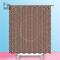 Nyaa Vector Greek Style Shower Curtains Circular Ornament Waterproof Polyester Fabric Bathroom Curtains For Home Decor