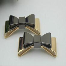 Free shipping (10 PCS/lot) high quality black gold and gold bow sandal shoes button clip DIY manual metal Shoe Decorations c-40