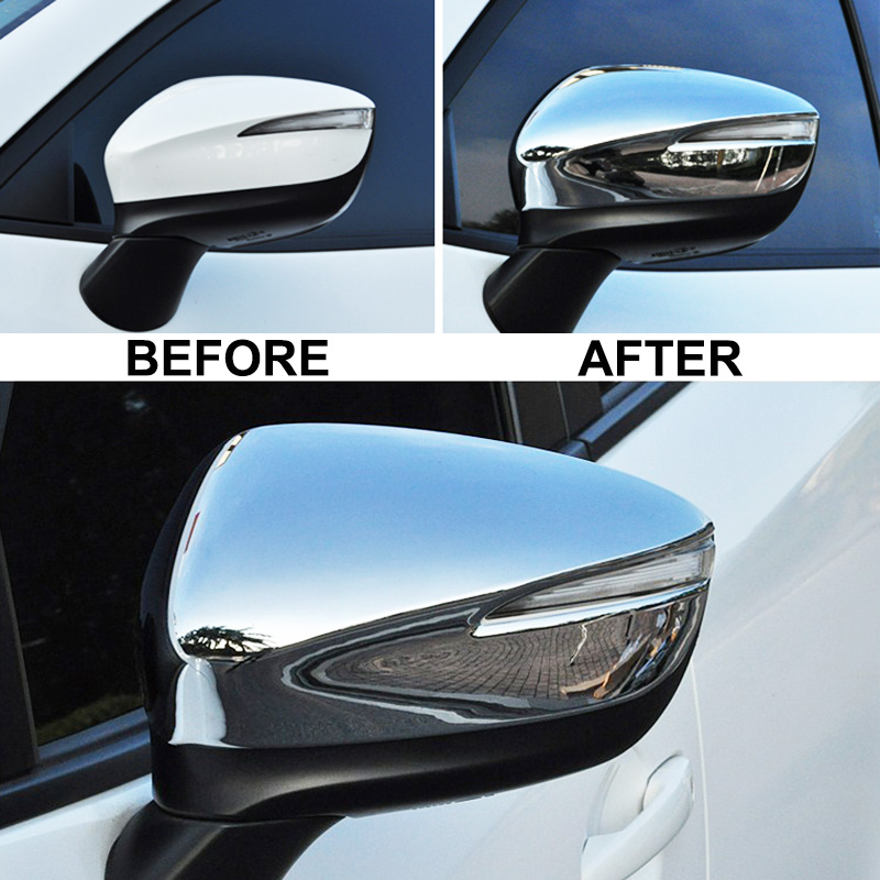 Chrome Rearview Door Side Mirror Cover Trim Cap Overlay For Mazda CX3 2016-2018