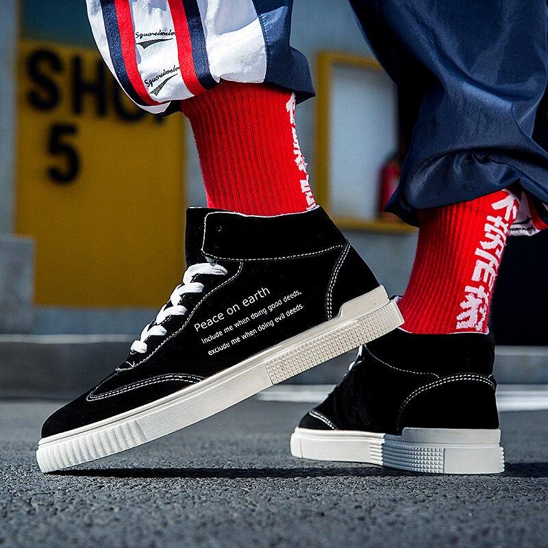619ae340136de4 De Hiver Chaud Hommes forme Plate gris Lettbao Sneakers Top D hiver Noir  Vulcanisé Mode 2018 Haute Chaussures ...