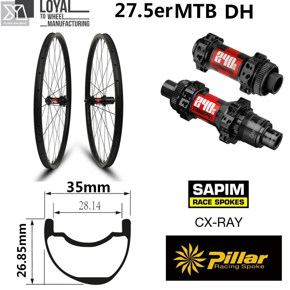 Original DT Swiss 240 Hub 27.5er Carbon MTB Wheel 35mm Width Tubeless Rim for 650B Cross Country XC All Mountain AM Wheelset