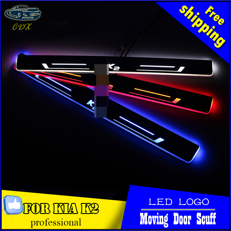 Car Styling Welcome pedal Door Sills Moving Scuff Plate Light Panel LED Light Dynamic Rubbing Strip For KIA K2 RIO 2012 -2016