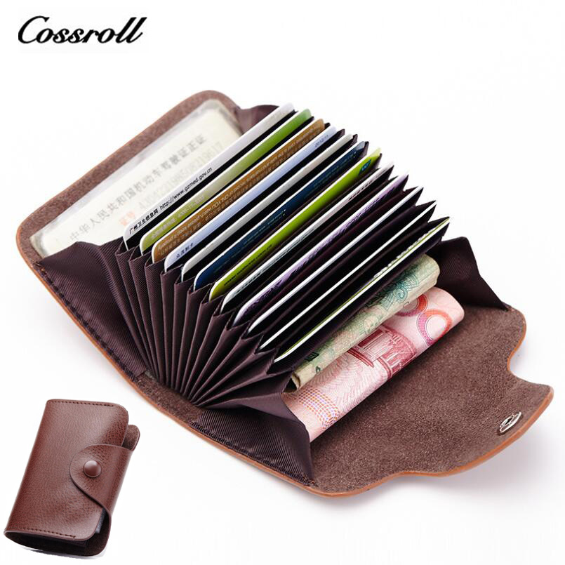 COSSROLL Genuine Leather Business Card Holder Mini Wallets Women ...