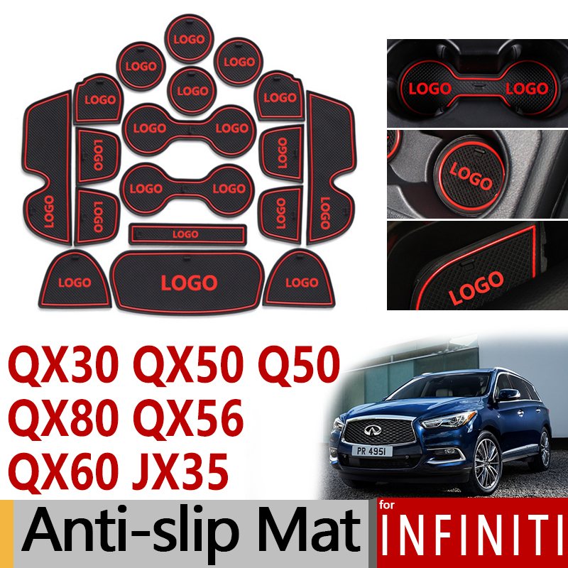 Anti-Slip Rubber Gate Slot Cup Mat for <font><b>Infiniti</b></font> Q50 QX30 QX50 QX56 QX80 <font><b>JX35</b></font> <font><b>QX60</b></font> Accessories Stickers 2010 20012 2015 2016 2018 image