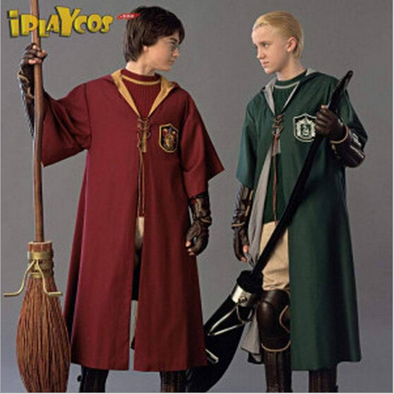XS-XXL Student Cosplay Cloak Quidditch Performance Wear Slytherin Robe  Uniform Halloween Gifts