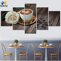 5 Pièce Art Café Fumant Tasse Toile Peinture Image Sur Le mur Pour La Cuisine Alimentaire Décoration de La Maison En Pas Cher Prix Sans Cadre