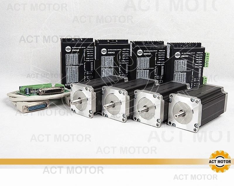 80W ACT Motor 4PCS Nema23 Stepper Motor Driver DM542 Input Voltage:18-50V